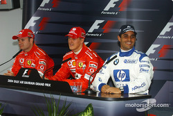 Post-qualifying press conference: pole winner Michael Schumacher with Rubens Barrichello and Juan Pablo Montoya