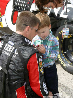 Ward Burton shares a family minute before the race