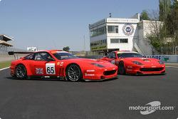 The two Prodrive Racing Ferrari 550 Maranello