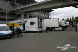 Transporters arrive in the paddock