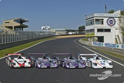 The Audi R8 cars of Audi Sport Japan Team Goh, Audi Sport UK Team Veloqx and Champion Racing