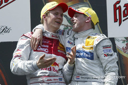 Podium: race winner Christijan Albers celebrates with Mattias Ekström