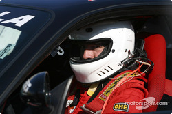 Canadien hockey club star Patrice Brisebois in a Ferrari Challenge car