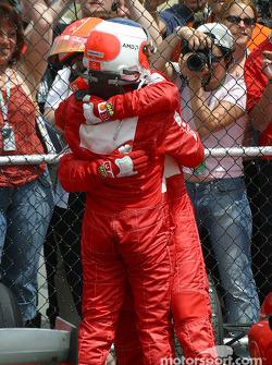 Michael Schumacher and Rubens Barrichello celebrate