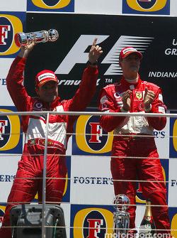 Podium: race winner Michael Schumacher and Rubens Barrichello
