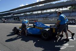 Renault F1 team members push car to Parc Fermé