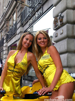 Michelle Clack and Leah Newman outside Austin Reed shop in Regent Street