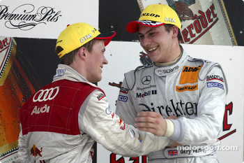 Podium: race winner Gary Paffett with Mattias Ekstrm