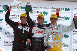 Podim: race winner Dan Eaves with Jason Plato and Anthony Reid