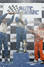 GTO podium: champagne for Marc-Antoine Camirand, Normand Guindon and Réjean Vincent