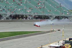 Jeff Simmons spins in corner 4 while leading the race
