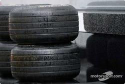 Wet tires in rainy Spa