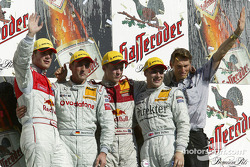 Podium: race winner Bernd Schneider with DTM 2004 champion Mattias Ekström, Martin Tomczyk and Gary Paffett