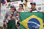 Podium: race winner Nelson A. Piquet with James Rossiter and Lucas di Grassi