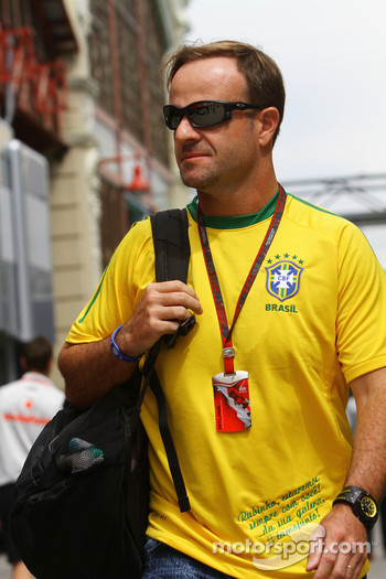 Rubens Barrichello, Williams F1 Team in a Brazilian football shirt