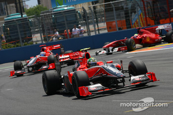 Lucas di Grassi, Virgin Racing leads Timo Glock, Virgin Racing