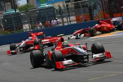 Lucas di Grassi, Virgin Racing leads Timo Glock, Virgin Racing