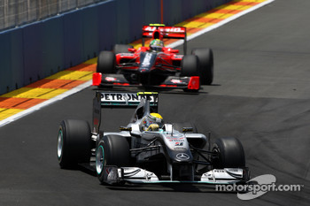 Nico Rosberg, Mercedes GP leads Lucas di Grassi, Virgin Racing