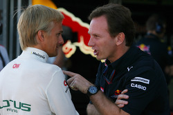 Heikki Kovalainen, Lotus F1 Team and Christian Horner, Red Bull Racing, Sporting Director