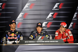 Press conference: pole winner Sebastian Vettel, Red Bull Racing, with second place Mark Webber, Red Bull Racing and third place Fernando Alonso, Scuderia Ferrari