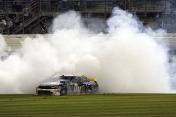 Race winner David Reutimann, Michael Waltrip Racing Toyota celebrates