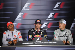 Press conference: race winner Mark Webber, Red Bull Racing, second place Lewis Hamilton, McLaren Mercedes, third place Nico Rosberg, Mercedes GP