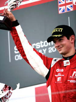 Alexander Rossi celebrates on the podium