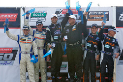 GT podium: class winner Jonathan Bomarito, second place Adam Christodoulou and John Edwards, third place Emil Assentato and Jeff Segal