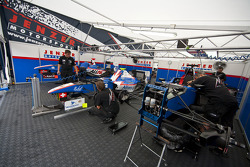 The cars of Simon Trummer, Pal Varhaug and Nico Muller in the Jenzer garage