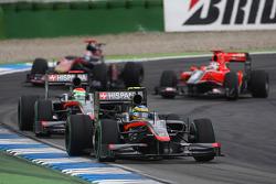 Bruno Senna, Hispania Racing F1 Team leads Sakon Yamamoto, Hispania Racing F1 Team