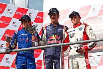 Podium from left: Felipe Nasr, Jean-Eric Vergne and Daniel Mckenzie