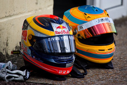 Helmets of Jean-Eric Vergne and Menasheh Idafar