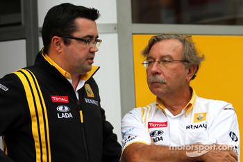 Eric Boullier, Team Principal, Renault F1 Team and Jean-Francois Caubet, Managing director of Renault F1