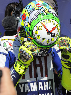 Valentino Rossi, Fiat Yamaha Team shows his special helmet