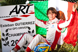 Esteban Gutierrez celebrates winning the Championship