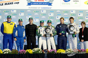 Michelin Green X Challenge podium: prototype winners Paul Drayson and Jonny Cocker, GT winner Tom Milner