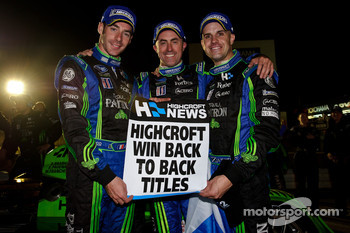 Simon Pagenaud, David Brabham and Marino Franchitti celebrate 2010 American Le Mans Series championship