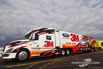 The 3M hauler pulls into the track