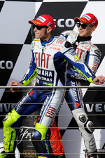 Podium: second place Jorge Lorenzo, Fiat Yamaha Team, third place Valentino Rossi, Fiat Yamaha Team