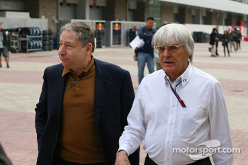 Jean Todt, FIA president and Bernie Ecclestone