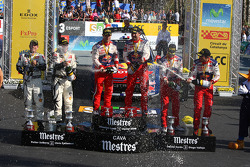Podium: winners Sébastien Loeb and Daniel Elena, Citroën C4, Citroën Total World Rally Team, second place Petter Solberg and Chris Patterson, Citroën C4 WRC, Petter Solberg Rallying, third place Daniel Sordo and Diego Vallejo, Citroën C4 Citroën Tot