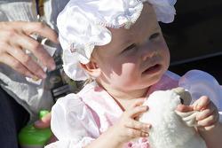 Matt Kenseth's little girl, Kaylin Nicola Kenseth, sits on pit road in her Halloween costume