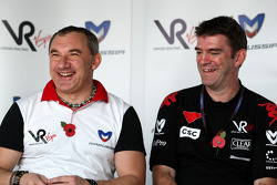 Nikolay Fomenko Marussia Motors Presidentand Graeme Lowdon Chief Executive of Virgin Racing at a press conference where Virgin Racing announced that Marussia have acquired a shareholding in the team
