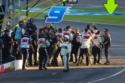 Roush Fenway Racing Ford team members celebrate the win of Carl Edwards