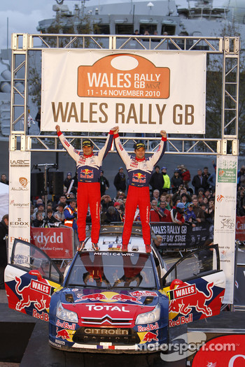 Podium: winners Sbastien Loeb and Daniel Elena celebrate