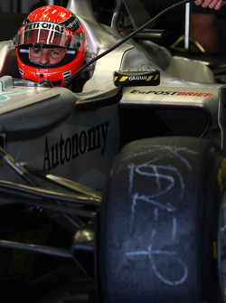 Michael Schumacher, Mercedes GP Petronas starts the day on Nico Rosberg's old tires