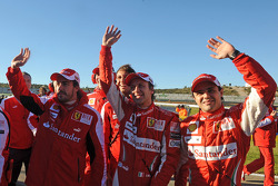 Fernando Alonso, Luca Badoer and Felipe Massa
