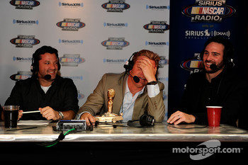 Tony Stewart, Clint Bowyer and Jimmie Johnson react during the Stewies inside the Hard Rock Hotel & Casino