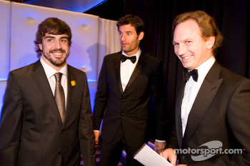 FIA Formula One World Championship: Fernando Alonso, Ferrari, Mark Webber, Red Bull and Red Bull Team Principal Christian Horner