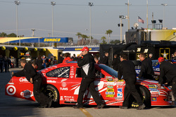 Car of Juan Pablo Montoya, Earnhardt Ganassi Racing Chevrolet pushed back in the garage